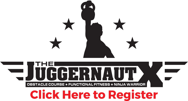 The Juggernaut Logo with a register button